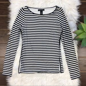 [WHBM] Black White Stripe Long Sleeve Boatneck Top